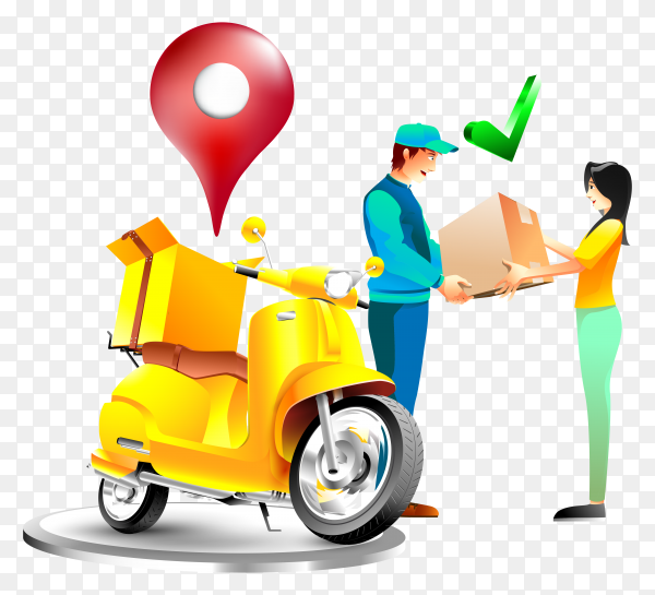 Fast-delivery-package-with-motorcycle-illustration-transparent-PNG