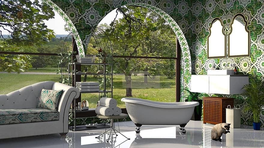 bath-bathroom-green-tile-the-interior-of-the-net-house-towel-wash